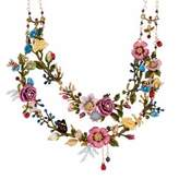Les Nereides Oriental Rose Bouquet Of An Oriental Garden Two Roughs Couture Necklace.