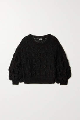 Loewe Cable-knit Mohair-blend Sweater - Black