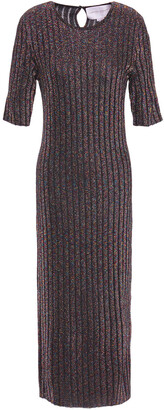 Carolina Herrera Marled Metallic Ribbed-knit Midi Dress