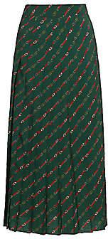 Gucci Women's Diagonal GG Logo Horsebit-Print Pleated Wool Midi Skirt