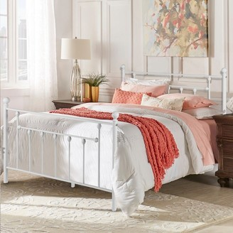 Overstock West Antique Industrial White Iron Bed