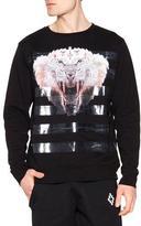 Marcelo Burlon County of Milan Tiger Graphic Sweatshirt with Tape Stripes, Black