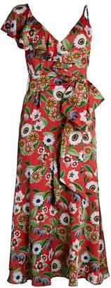 Borgo de Nor Isadora Asymmetric Ruffle Floral Midi Dress