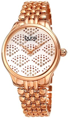 Burgi Ladies Swarovski Crystal Pebble Style Rose-tone Bracelet Watch