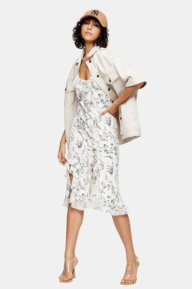Topshop Womens Idol Ivory Floral Slip Dress - Ivory