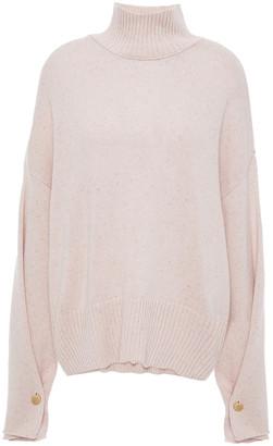 Autumn Cashmere Button-detailed Donegal Cashmere Turtleneck Sweater
