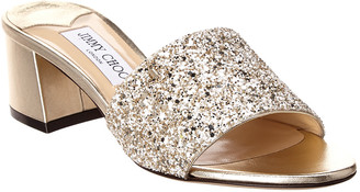 Jimmy Choo Minea 45 Glitter Leather Sandal