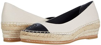 Tory Burch Color-Blocked 50 mm Espadrille (Cream/Perfect Black) Women's Shoes