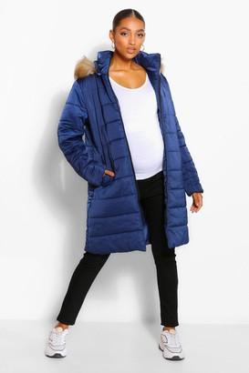 boohoo Maternity Padded Faux Fur Trim Coat