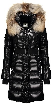 SAM. Infinity Fox Fur-Trim Belted Down Puffer Coat