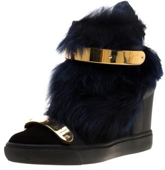Giuseppe Zanotti Black Leather And Beaver Fur Lorenz High Top Wedge Sneakers Size 38.5
