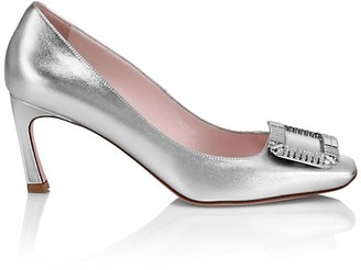 Roger Vivier Trompette Crystal-Embellished Metallic Leather Pumps