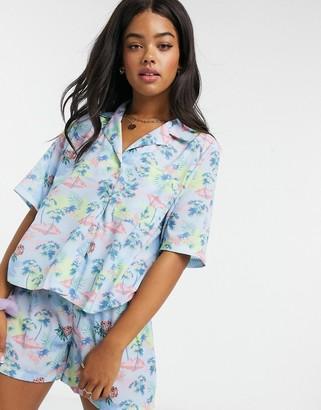Skinnydip oversized shirt in tropical print co-ord