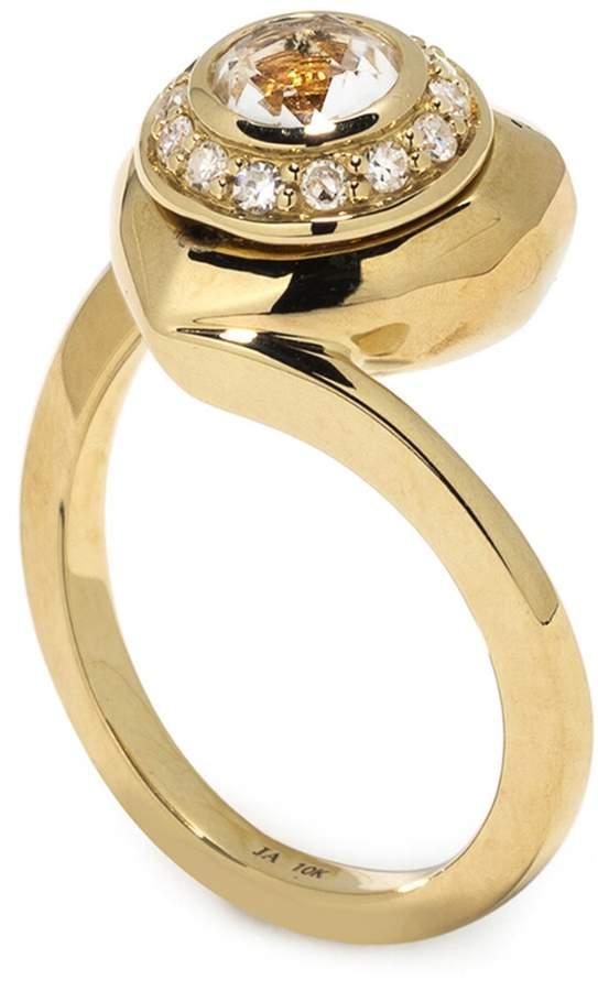 Jordan Askill Pavé Diamond Heart Locket Ring - Yellow Gold