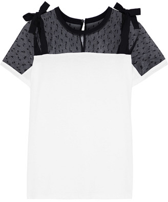 RED Valentino Bow-detailed Point D'esprit-paneled Cotton-jersey T-shirt
