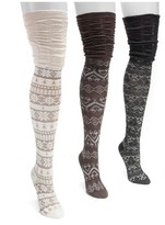 Muk Luks Women's 3 Pair Pack Microfiber Over the Knee Socks - Neutral One Size Fits Most