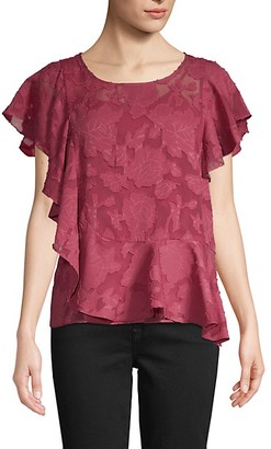 Laundry by Shelli Segal Flutter-Sleeve Floral Lace Top
