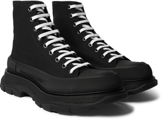 Alexander McQueen Exaggerated-Sole Canvas High-Top Sneakers