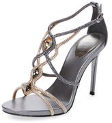Rene Caovilla Beaded Buckle T-Strap Sandal