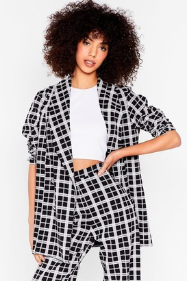 Nasty Gal Womens Work It Out Oversized Check Blazer - Black