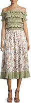 Rebecca Taylor Smocked Off-the-Shoulder Halter Floral-Print Maxi Dress, Multicolor