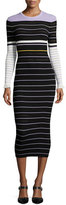 Opening Ceremony Long-Sleeve Striped Midi Dress, Lavender/Multicolor