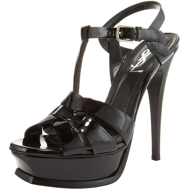 Saint Laurent Tribute Patent Platform Sandal, Black