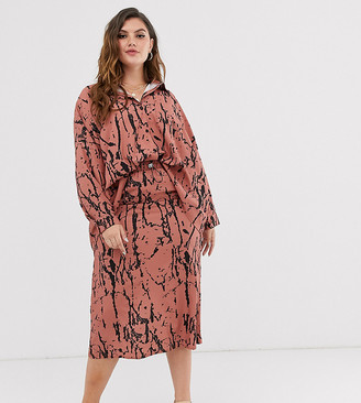 Another Reason Plus midi skirt with toggle waist in abstract print co-ord