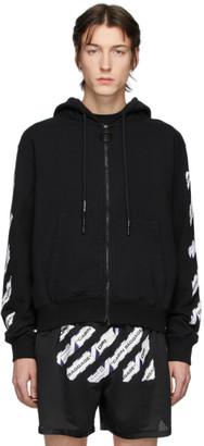 Off-White Black Airport Tape Zip hoodie