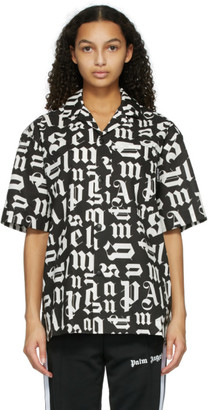 Palm Angels Black and White Bowling Short Sleeve Shirt