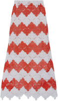 MacGraw Red & White Crochet Steeple Midi Skirt