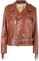 Golden Goose Deluxe Brand fringed sleeve biker jacket - women - Cotton/Leather/Polyester/Viscose - S