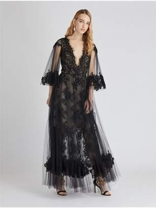 Oscar de la Renta Lace And Tulle Cocktail Dress