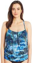 Fit 4 U Women's Scattered Elements Mesh Blouson Tankini Top with Racer Back