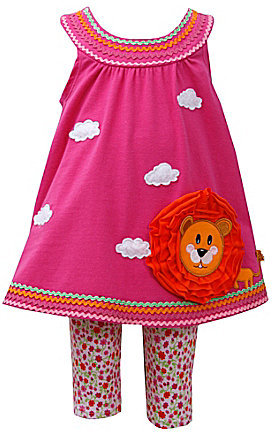 Bonnie Baby 12-24 Months Lion-Appliquéd Dress & Animal-Print Legging Set
