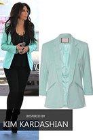 CelebLook Womens Stylish 3/4 Length Turn Up Sleeves Ladies Blazer
