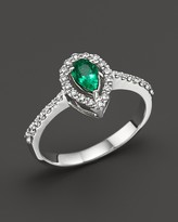Bloomingdale's Emerald and Diamond Pear Shape Ring in 14K White Gold