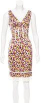 Roberto Cavalli Floral Print Lace-Trimmed Dress
