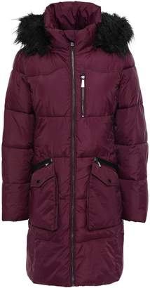 DKNY Loden Faux Fur-trimmed Quilted Shell Hooded Coat