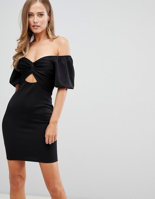 Flounce London off shoulder mini dress with cut out front in black
