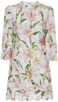 Dolce & Gabbana Lace-Trimmed Floral-Jacquard Mini Dress