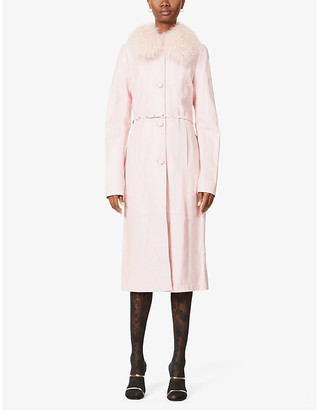 Saks Potts Charlot faux-fur-trim leather coat