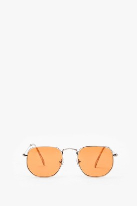 Nasty Gal Womens Steel the Show Rounded Metal Sunglasses - Rust