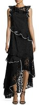 Sachin + Babi Harmany Sleeveless Asymmetric Floral Lace Ruffle Gown, Black