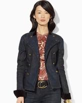 Lauren Ralph Lauren Denim Velvet-Trim Jacket