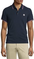 Moncler Navy-Tipped Short-Sleeve Pique Polo Shirt, Navy