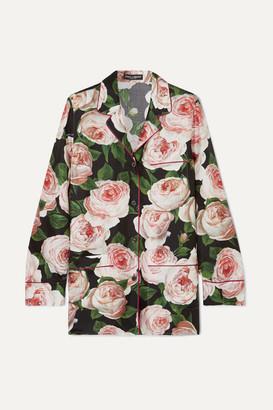 Dolce & Gabbana Floral-print Silk-charmeuse Shirt - Pink