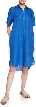 120% Lino Short-Sleeve Button-Front High-Low Linen Shirtdress
