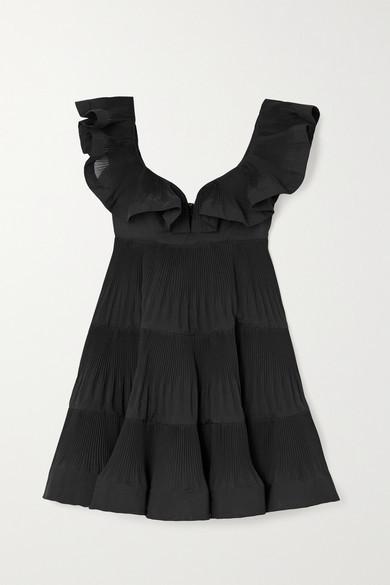 Zimmermann The Lovestruck Ruffled Plisse-crepe Mini Dress - Black