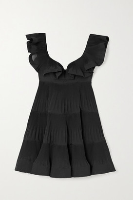Zimmermann The Lovestruck Ruffled Plisse-crepe Mini Dress - Black